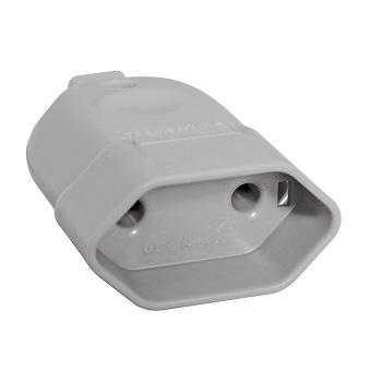Plug Fêmea 2P 10A/250V Cinza - Ref. 57401052 - TRAMONTINA