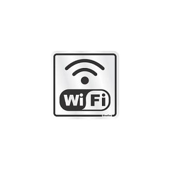 Placa De Alumínio 15x15cm Wifi Prata - Ref.120BC  - SINALIZE