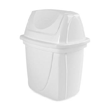Lixeira Basculante de Plástico para Pia  6,5 Litros com Tampa Branco - Ref.003732 - PLASUTIL