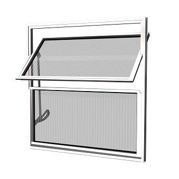 Basculante Alumínio 50x50 2 Folhas Vidro Canelado MCJBNTC019 - Ref. EMC010035 - QUALITY