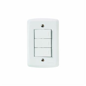 Interruptor 4X2 Triplo 10A/250V Lux2 Branco - Ref. 57145070 - TRAMONTINA
