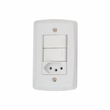 Interruptor 4X2 Duplo+1Tomada 2P+T 10A/250V Lux2 Branco - Ref. 57145073 - TRAMONTINA