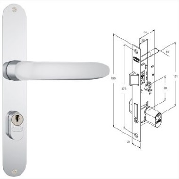 Fechadura Externa Alumínio Espelho 603/11 Búzios 1/2 Maçaneta IX - Ref. 35373 - STAM