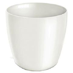 Cachepô Plástico 10x8cm Elegance Redondo Branco - Ref.6101701-02 - NUTRIPLAN