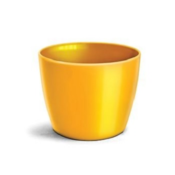 Cachepô Plástico 12x10cm Elegance Redondo Amarelo - Ref.6101702-01 - NUTRIPLAN