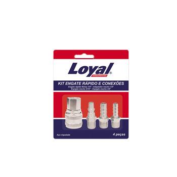 Kit Engate Rápido 4 Peças 1/4 Fêmea Ar Comprimido - Ref.08218001 - LOYAL