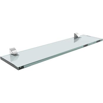 Prateleira de Vidro 20x20cm com Suporte Cromado Incolor - Ref. 08621.001 - PRAT-K