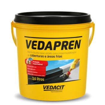 Impermeabilizante Acrílico 3,7kg Vedapren Elasto Preto -  Ref.121745 - VEDACIT