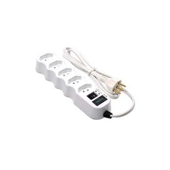 Filtro de Linha 1m 250v 5 Tomadas 2P+T Branco - Ref. 34012 - ILUMI