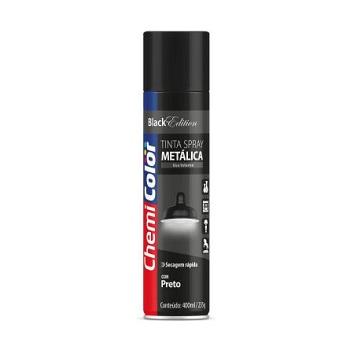 Tinta Spray Metálica 400ml  Preto - Ref. 680104 - CHEMICOLOR