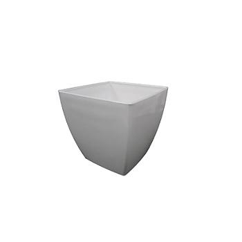 Cachepô Plástico 11,2x11cm Elegance Quadrado Branco - Ref.6101705-02 - NUTRIPLAN