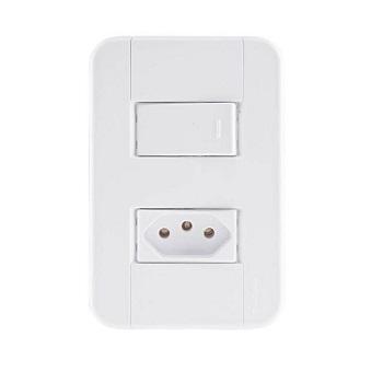 Interruptor 4X2 Simples+Tomada 2P+T 10A/250v Tablet Branco - Ref. 57240064 - TRAMONTINA