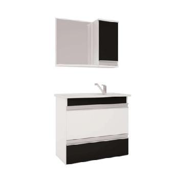 Gabinete Banheiro MDF Classic Com Espelho Grecia Branco e Preto 65x60cm - Ref. 882.10 - MGM