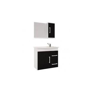 Gabinete Banheiro MDF Suspenso 65x60cm Com Espelho Vix Branco e Preto - Ref. 884.10 - MGM