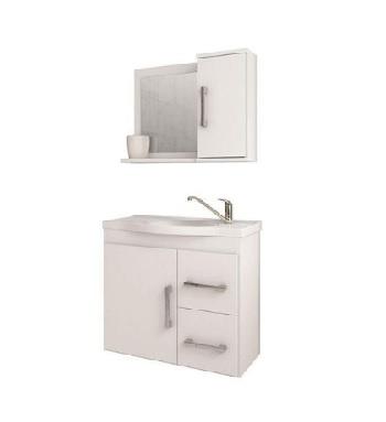 Gabinete Banheiro MDF Suspenso 65x60cm Com Espelho Vix Branco - Ref. 884.2 - MGM