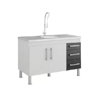 Gabinete de Cozinha em MDF 114x80cm com Pés 2 Portas 3 Gavetas Flex Branco e Preto - Ref.888.10 - MGM
