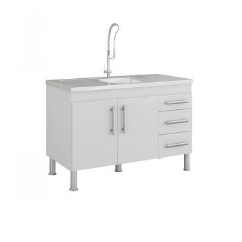 Gabinete de Cozinha em MDF 114x80cm com Pés 2 Portas 3 Gavetas Flex Branco - Ref.888.2 - MGM