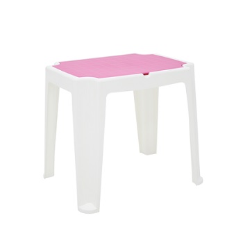 Mesa Plastica Infantil 72x56,5cm Retangular Versa Branca e Rosa - Ref. 92340/616 - TRAMONTINA