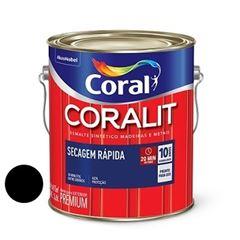 Tinta Esmalte Brilhante Coralit Secagem Rápida Preto 3,6 Litros - Ref. 5202931 - CORAL