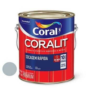 Tinta Esmalte Brilhante Coralit Secagem Rápida Cinza Médio 3,6 Litros - Ref. 5202934 - CORAL