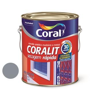 Tinta Esmalte Brilhante Coralit Secagem Rápida Cinza Escuro 3,6 Litros - Ref. 5202938 - CORAL
