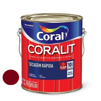 Tinta Esmalte Brilhante Coralit Secagem Rápida Vermelho Goya 3,6 Litros - Ref. 5202956 - CORAL
