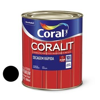 Tinta Esmalte Brilhante Coralit Secagem Rápida Preto 900ml - Ref. 5202932 - CORAL