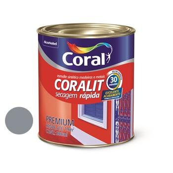 Tinta Esmalte Brilhante Coralit Secagem Rápida Cinza Escuro 900ml - Ref. 5202939 - CORAL