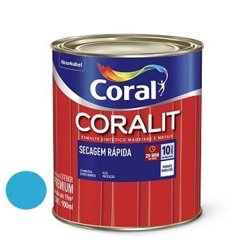 Tinta Esmalte Brilhante Coralit Secagem Rápida Azul Mar 900ml - Ref. 5202941 - CORAL