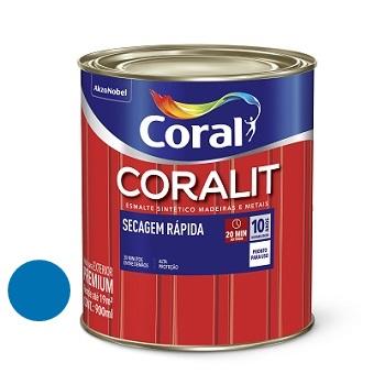 Tinta Esmalte Brilhante Coralit Secagem Rápida Azul França 900ml - Ref. 5202948 - CORAL
