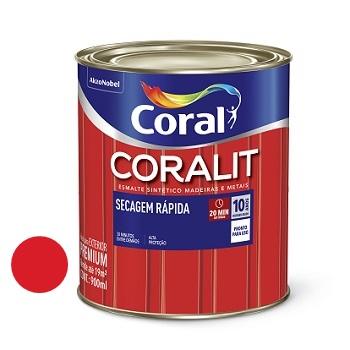 Tinta Esmalte Brilhante Coralit Secagem Rápida Vermelho 900ml - Ref. 5202950 - CORAL