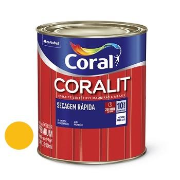 Tinta Esmalte Brilhante Coralit Secagem Rápida Amarelo 900ml - Ref. 5202959 - CORAL