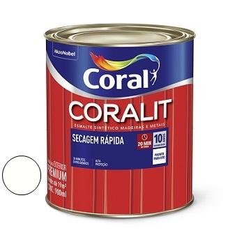 Tinta Esmalte Acetinado Coralit Secagem Rápida Branco 900ml - Ref. 5274056 - CORAL