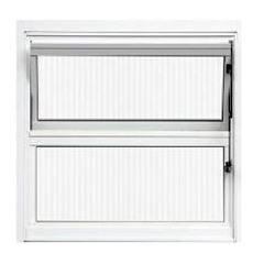 Basculante Alumínio 40x40 2 Folhas Vidro Canelado JBBCC001 Branco - Ref. ELB001001 - QUALITY