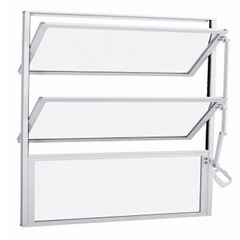 Basculante Alumínio 60x60 3 Folhas Vidro Canelado JBBCC006 Branco - Ref. ELB001005 - QUALITY