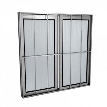 Janela Alumínio 100x100 2 Folhas Com Grade Vidro Canelado JCBCC013 Branca - Ref. ELB002001 - QUALITY