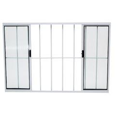 Janela de Alumínio com Grade 4 Folhas Vidro Canelado 150x100cm Branco JCBCC019 - Ref.ELB003021 - QUALITY