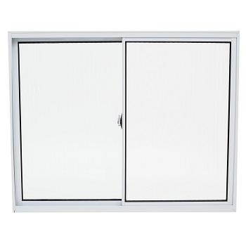 Janela de Correr de Alumínio 2 Folhas Vidro Liso 100x100cm Branco JCBCL002 - Ref.ELB004002 - QUALITY
