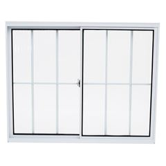 Janela de Alumínio com Grade 2 Folhas Vidro Liso 100x100cm Branco JCBCL013 - Ref.ELB004011 - QUALITY