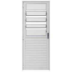 Porta de Alumínio com Basculante Vidro Liso Lado Esquerdo 80x210cm Branco PBBCL002 - Ref.ELB007002 - QUALITY