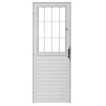 Porta de Alumínio com Postigo Vidro Liso Lado Direito 80x210cm Branco PPBCL001 - Ref.ELB009001 - QUALITY