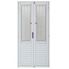 Porta de Alumínio com Postigo Duplo Giro Vidro Liso 100x210cm Branco PDPBCL001 - Ref.ELB009002 - QUALITY