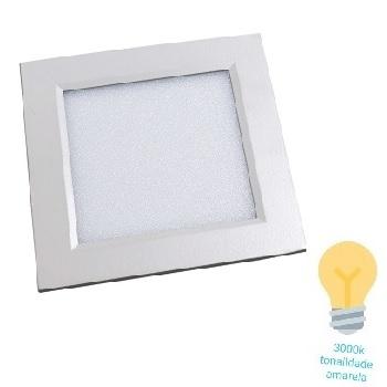 Luminária Plafon LED 6W 3000K Bivolt Embutir Quadrado Branco - Ref. DI48283 - DILUX