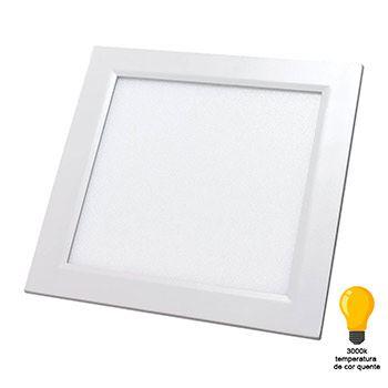Luminária Plafon LED 24W 3000K Bivolt Embutir Quadrado Branco - Ref. DI48405 - DILUX