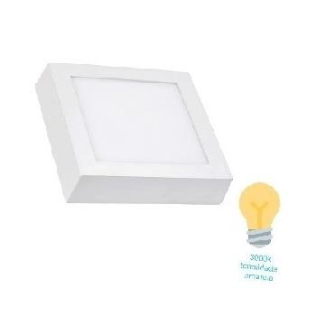 Luminária Plafon LED 18W 3000K Bivolt Sobrepor Quadrado Branco - Ref. DI48566 - DILUX