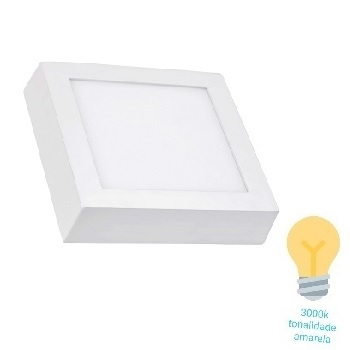 Luminária Plafon LED 24W 3000K Bivolt Sobrepor Quadrado Branco - Ref. DI48603 - DILUX