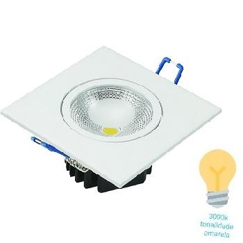 Spot LED 5W Bivolt Embutir Quadrado 3000K - Ref. DI48665 - DILUX