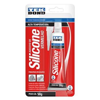 Adesivo Silicone 50g Acético Alta Temperatura Vermelho - Ref. 22044001202 - TEKBOND