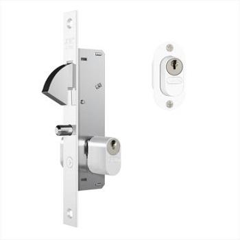 Fechadura Externa Estreita Alumínio Espelho 901 Correr Branca Gorje - Ref. 35136 - STAM