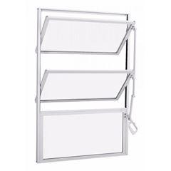 Basculante Alumínio 40x60 3 Folhas Vidro Canelado JBBCC005 Branco - Ref. ELB001009 - QUALITY